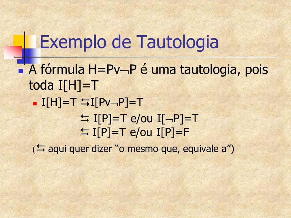 Exemplo de Tautologia A fórmula H=PvP é uma tautologia, pois toda I[H]=T. I[H]=T DI[PvP]=T.